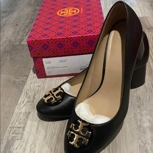 Tory Burch black leather with block heel